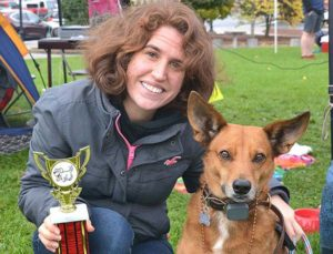Alyssa DiGiovanni holds the Best Ears trophy won by her dog Rudy. Photos/Ed Karvoski Jr.
