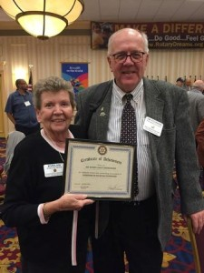 Westborough Rotary Club President Jim O'Connor and Foundation Chair Evelyn Ware accept the award. Photo/submitted