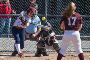Westborough's Maia Morgado smacks a triple in the third inning