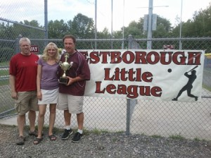 The 2012 Trivia Bee winners, representing Westborough Little League and Softball, are (l to r) Jon McGrath, Laurie Nagi, and Rob Nagi. (Photo/submitted)