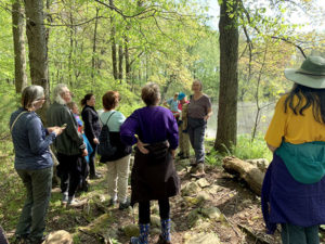 Participants on the wildflower walk near Gilmore Pond