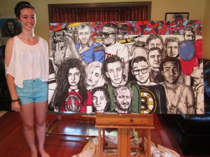 Michelle Stevens displays her mural, which was one of five selected to be displayed at Boston Calling. Photo/submitted