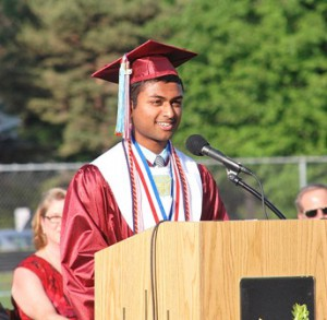 Valedictorian Shreedhar Deshpande shares personal experiences with his classmates.