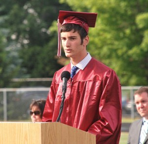 Class President Zachary Bloch welcomes everyone to the ceremony.