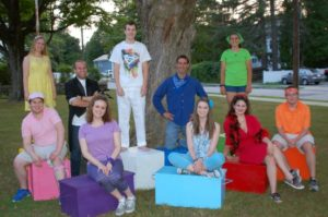 "The Westborough Players' Club cast of ""Godspell"" features (back, l to r) Sarah Grina, Jon DiPrima, Liam Devine, Mike Ciccolella, Nicole Bates, (front, l to r) Anthony Masciangioli, Kelly Bubello, Meg Norton, Mick Lonati and Adam Duval. Not pictured is Maya Deschenes. (Photo/submitted)"