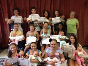 August Babysitter Training Course participants: (back row, l to r) Eli Richman, James Gagnon, Julia Neiva, Nicole Levine and Instructor Betheda Shuman; (middle row) Raphael Richman, Abigail Riela, Natalie Chace and Infanta Antony; and (front row) Rachel Fredman, Nicole Farmer, Rachel White and Grace Townsend
