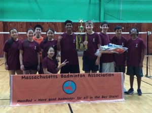 The Westborough team, which included members from Westborough and Wayland high schools, took home the Division II trophy from the Massachusetts Badminton Championship. (Photo/submitted)