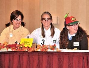 Mill Pond Parent Group teammates (l to r) Jess Fox, Karen Henderson and Jenn Masciarelli get geeky.