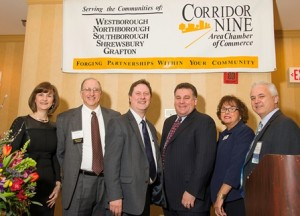 (l to r): Karen Chapman, vice president, Corridor Nine Area Chamber of Commerce; breakfast presenters Bob Rhodes and Robert Donnan, Small Business Insurance Agency; Dr. Michael Goodman, University of Massachusetts, Dartmouth; Barbara Clifford, president, Corridor Nine and Steve Anderson, Unibank and chair of the Corridor Nine board of directors.  Photo/courtesy Ron Bouley Photography