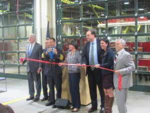 Local and state officials cut the ribbon for the new fire station.