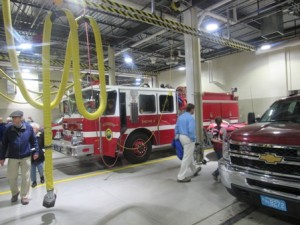 Residents tour the fire station.