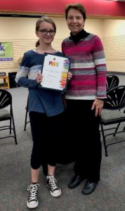 Winner Sophia Winsch with Susan Ash, chair of the Westborough Lions Club poster contest Photos/submitted