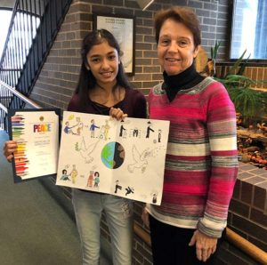 1st runner-up Diya Deliwala with Susan Ash, chair of the Westborough Lions Club poster contest Photos/submitted