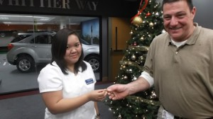 Brian Ramsey returning Annie Rose Traiforos' ring at Whittier Rehabilitation Hospital