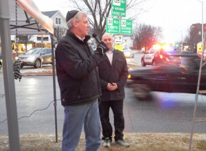 George Barrette, the chair of the Westborough Board of Selectmen, along with Selectman Tim Dodd welcomes those gathered.