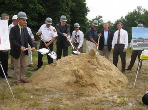 Officials break ground at new the site of the new fire station.