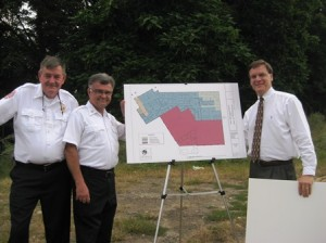 (l to r) - retired Westborough Fire Dept. Captain Calvin Lawrence, Fire Chief Nick Perron and Brian Humes, architect with Jacunski Humes Architects, LLC.