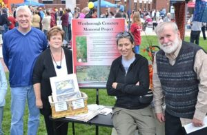 (l to r) Selectman George Barrette, Barbara Banks, Sarah Utka and Glenn Malloy participate in the recent Arts in Common event as a way to spread the word about the Westborough State Hospital Cemetery Memorial Project.