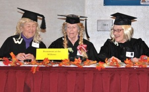 Collectively trying to figure the answer are Beaumont at the Willows teammates (l to r) Kay Devlin, Mary Coogan and Mary Tribe, who were named the Best Costumed.