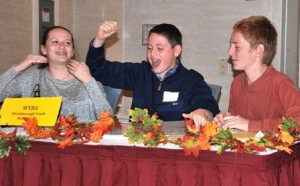 Displaying why they were chosen Most Spirited is the team consisting of Westborough High freshmen (l to r) Sabrina Sigel, Harrison Israel and Miles Henderson.