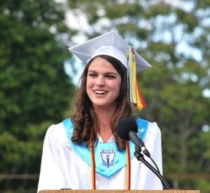 Class President Mia Natale welcomes everyone.