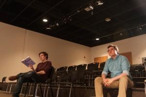 Patrick Lachance (lighting design) and Josh Telepman (director) in rehearsal.