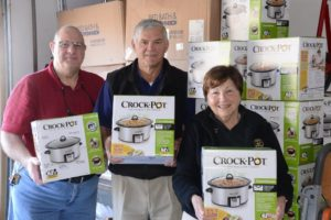 "(l to r) Northborough Rotary Club members Chuck Frankian, Phil Lockwood and Patricia ""Pat"" Doyle with the new crockpots."