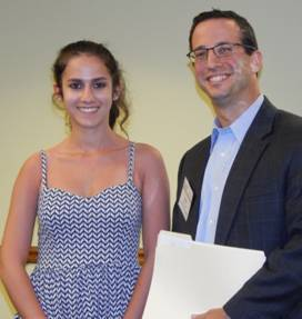 Amanda Gilbert, shown here with ABA scholarship chair Adam Sachs, is one of the ABA 2013 scholarships winners. (photo by Leslie Marci)