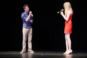 Sam Brownstein and Michaela Kelly sing