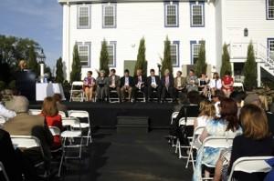 Deborah Penta addresses guests at the ceremony.