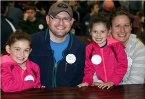 (l to r) Eliana, Gary, Sophia, and Meredith Buono wait to start their service at Prospect Park.  Photo/Rebecca Kensil