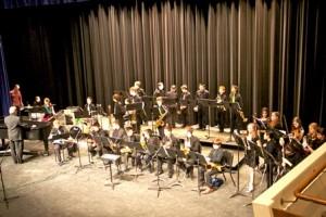 The Trottier School band performs in the school auditorium. (Photo/courtesy Deb Scaringi)