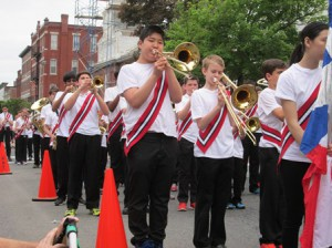 The Gibbons Middle School band performs during the Memorial Day parade.