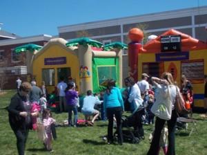 Kids enjoyed the bouncy houses.